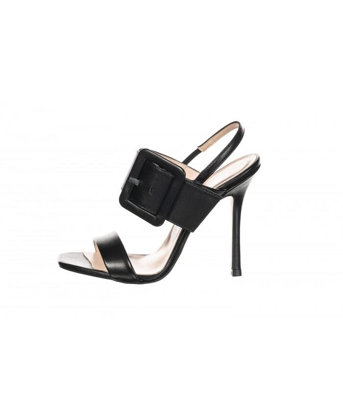 Sandale à talon aiguille cuir noir
