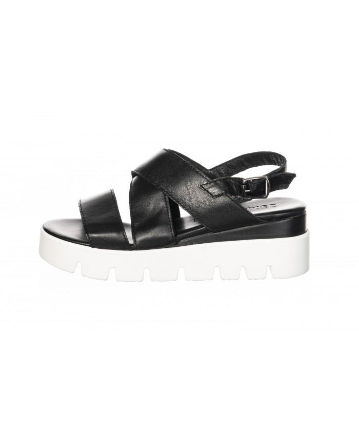 Sandale Cuir Noir à Plateforme