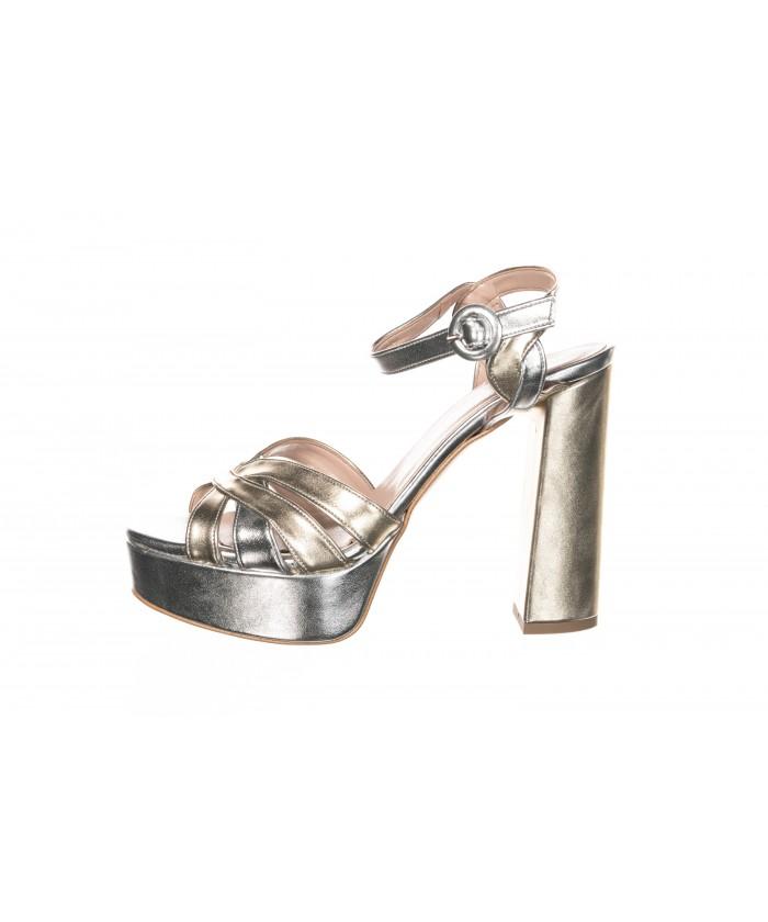 Sandale argent et or à talon carré