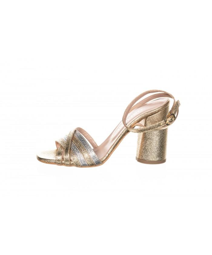 Sandale Gliter Or & Argent à Brides Croisées