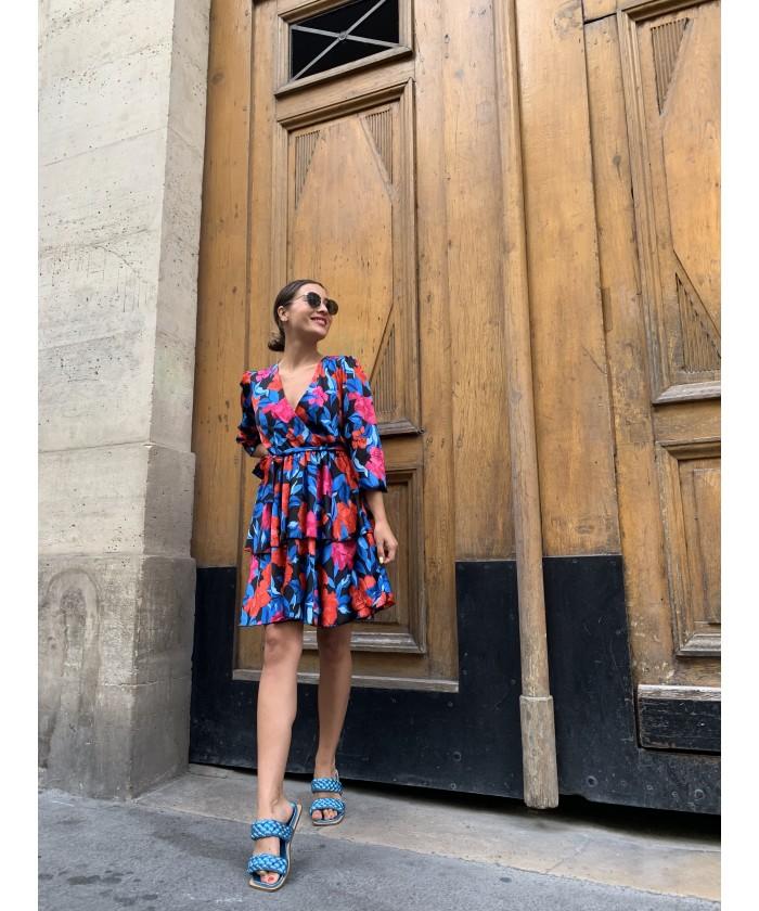 Sandale Cessou : Cuir Laminé Bleu ciel
