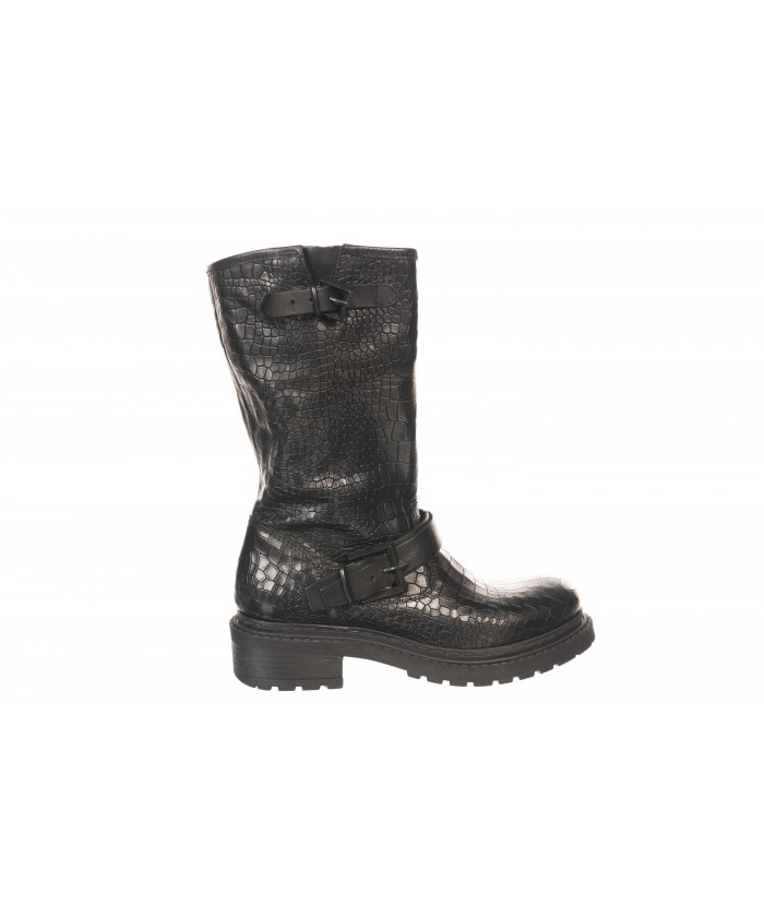 Bottine Cuir Croco Noir