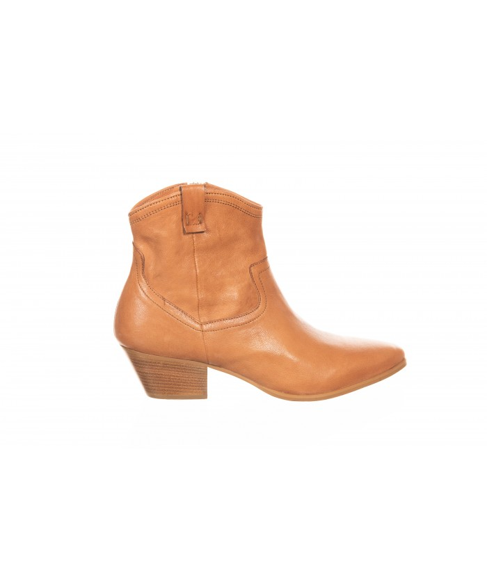 Bottine Western Cuir Camel à Talon