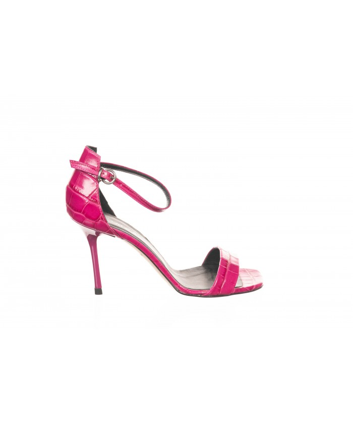 Sandale ouverte Cuir Croco Fushia à Bride