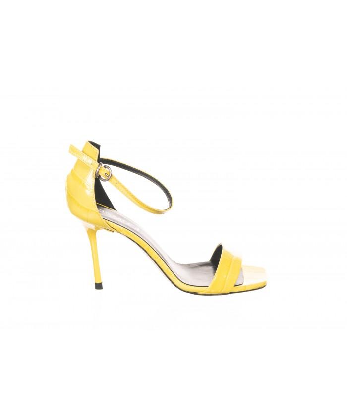 Sandale ouverte Cuir Croco Jaune à Bride
