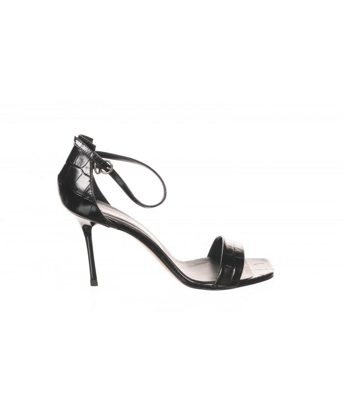 Sandale ouverte Cuir Croco Noir à Bride