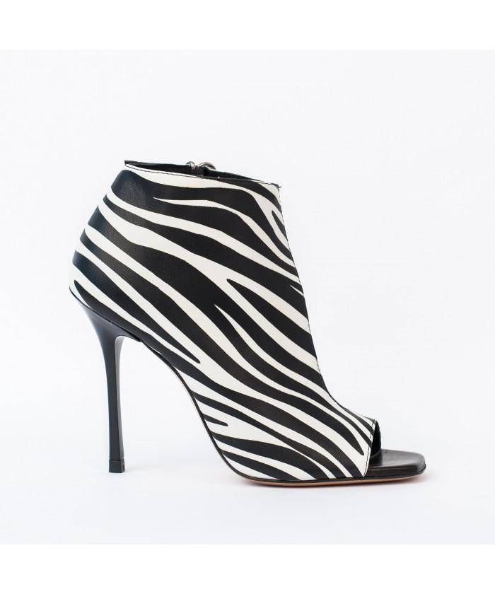 Bottine Sandale Zebra : Cuir Zebré Blanc & Noir à Talon Aiguille