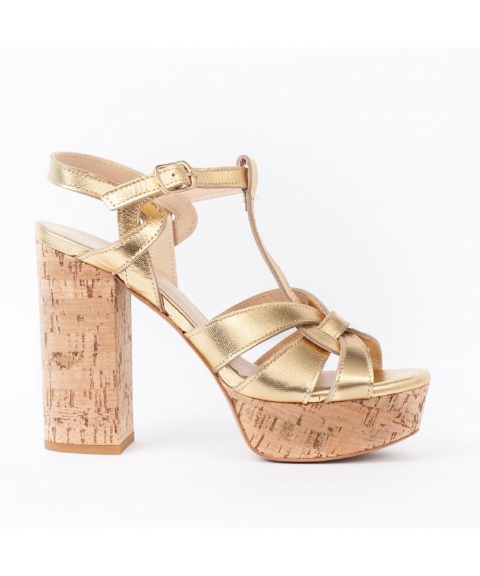 Eva : Sandale Cuir Metallisé Or à Talon Liège