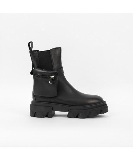 Boots Rangers Keïra : Cuir Noir élastiqué à semelle crantée