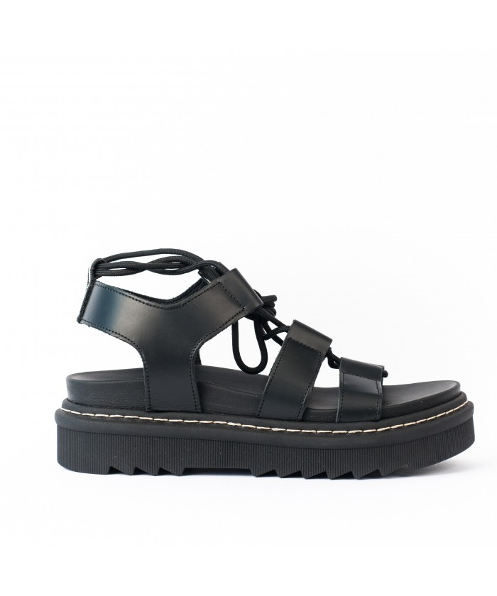 Sandale Cuir Noir