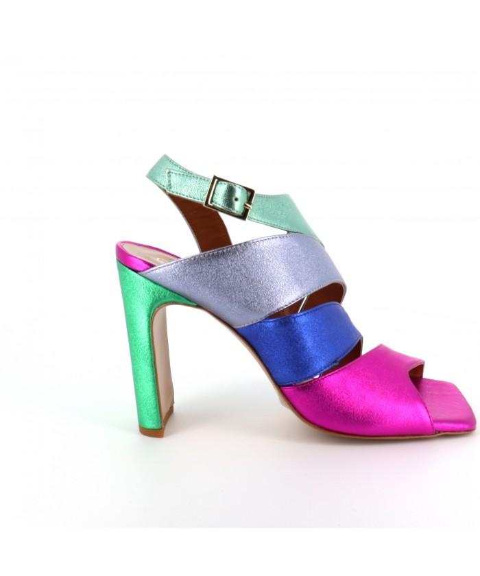 Sandale Mina à talon cuir...