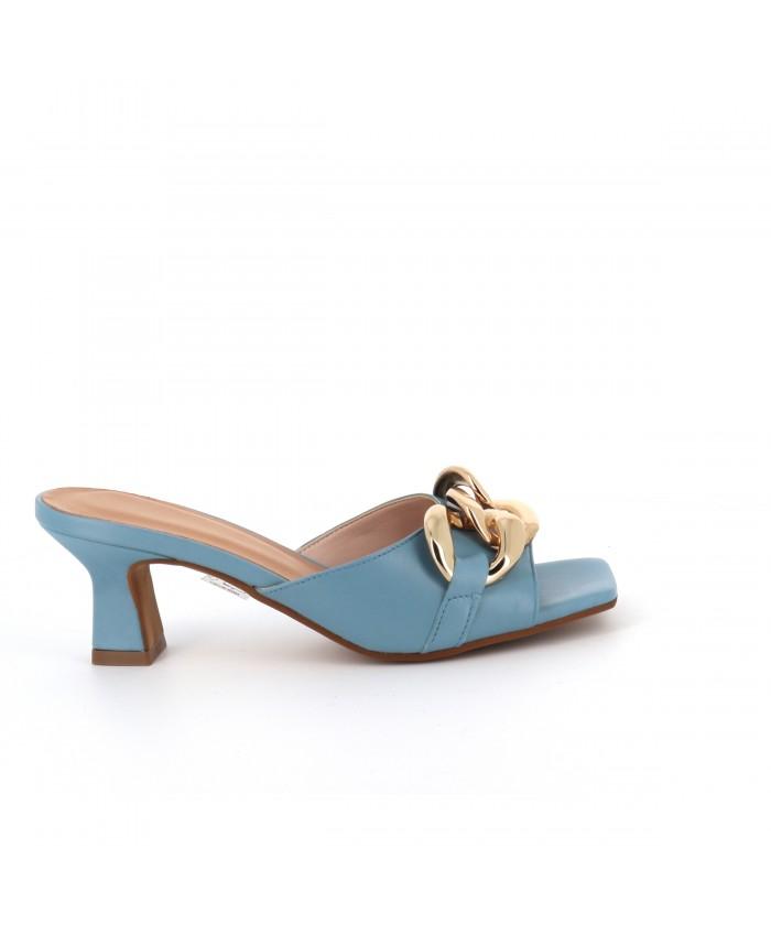 Mule Chaina cuir bleu ciel
