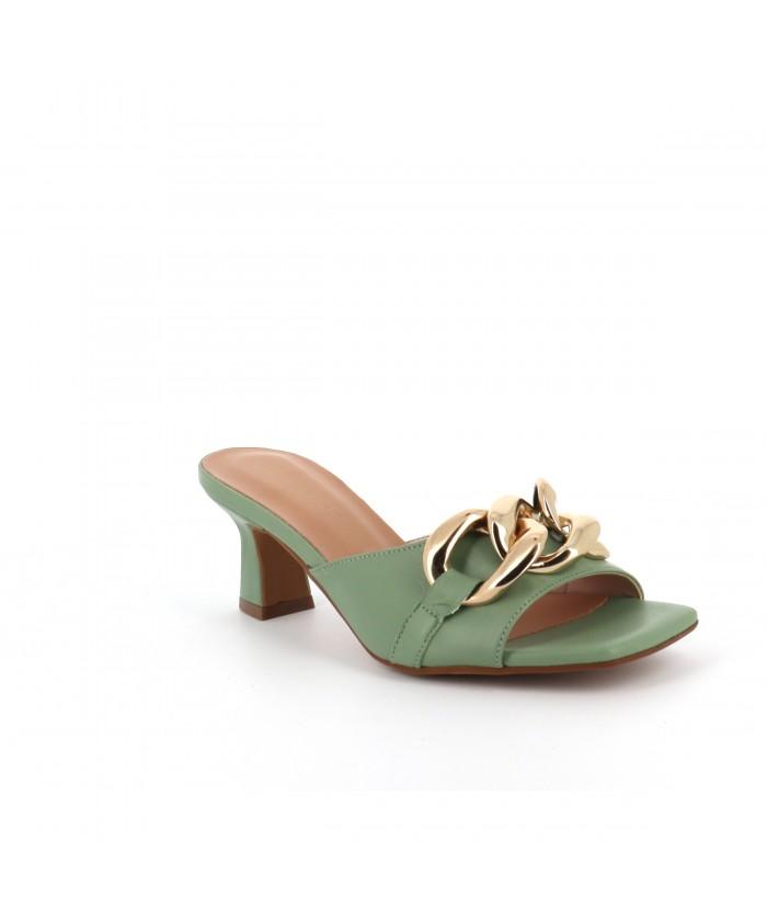 Mule Chaina cuir vert pastel