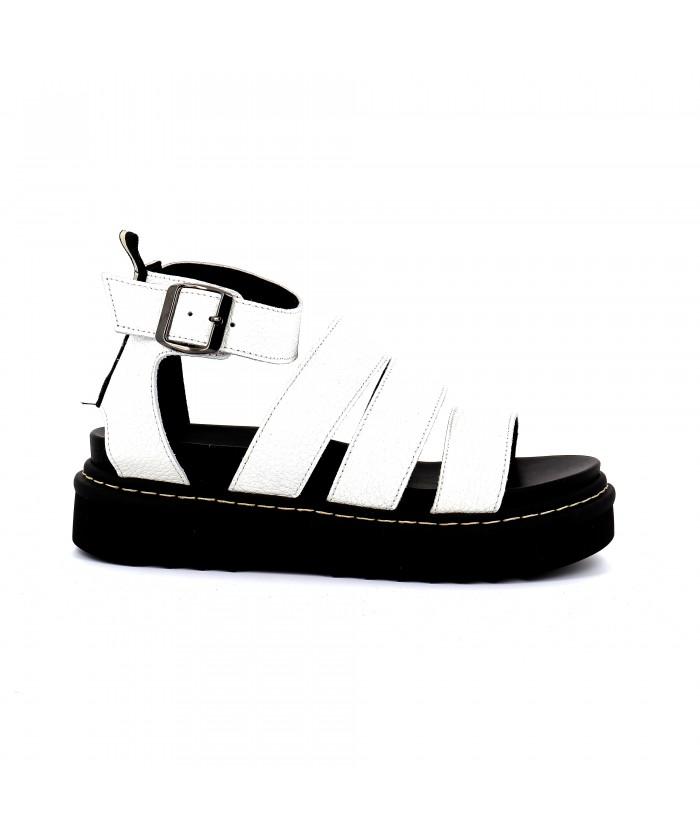 Sandale à Bandes Cuir Blanc