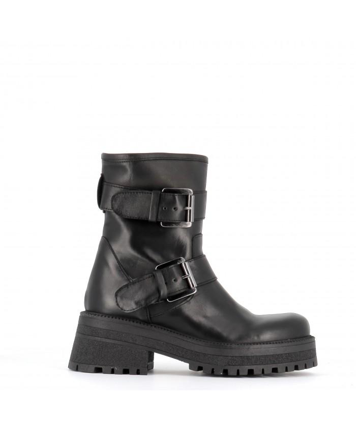 Boots Gemma Motarde Cuir Noir