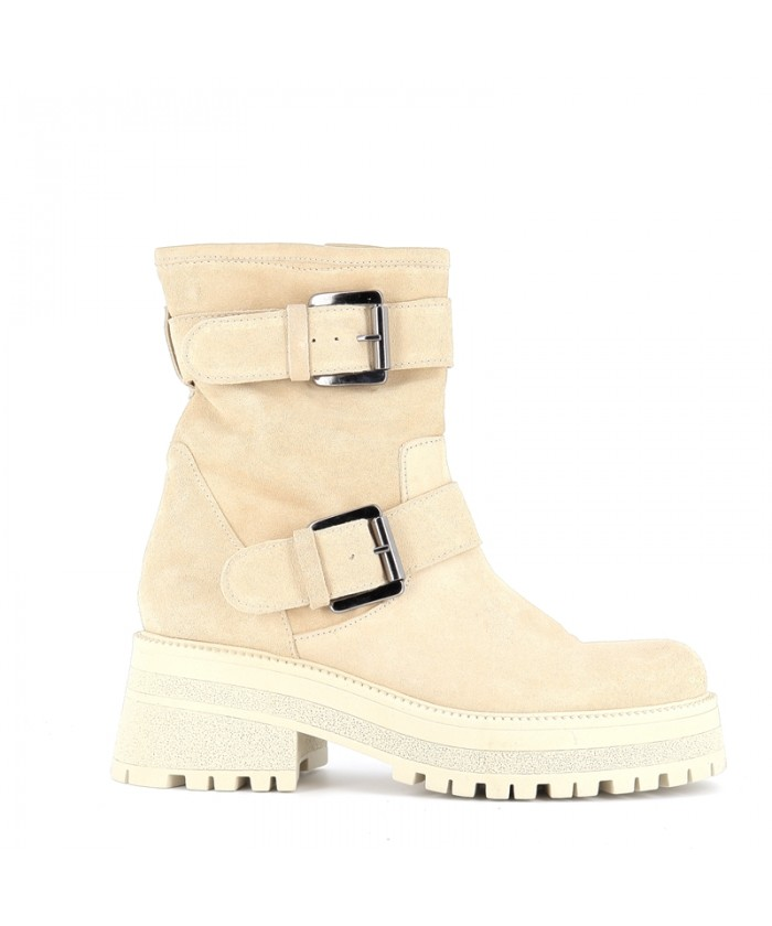 Boots Gemma Motarde Daim Beige